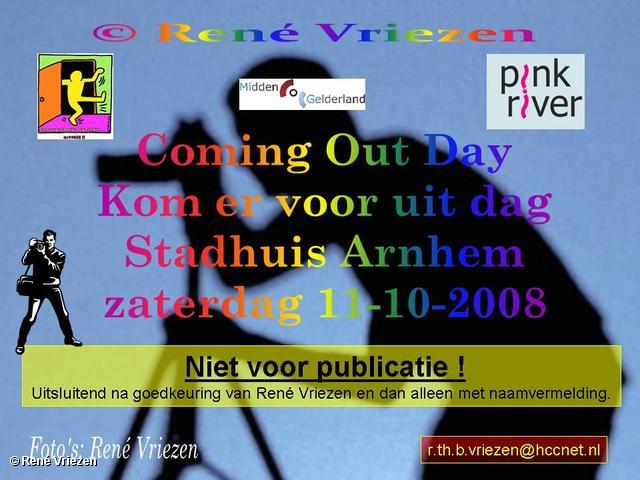 René Vriezen 2008-10-11 #0000 Coming Out Day. Kom er voor uit dag. Stadhuis Arnhem zaterdag 11-10-2008