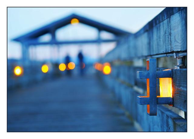 Comox Dock Sunset lights Comox Valley