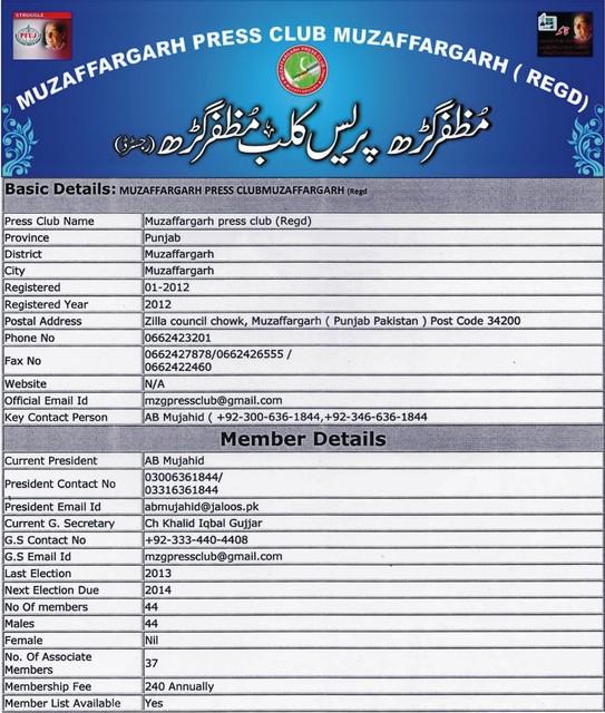 Muzaffargarh Press Club Muzaffargarh (Regd) Picture Box