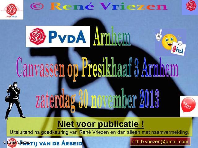 R.Th.B.Vriezen 2013 11 30 0000 PvdA Arnhem Canvassen Presikhaaf 3 Arnhem zaterdag 30 november 2013