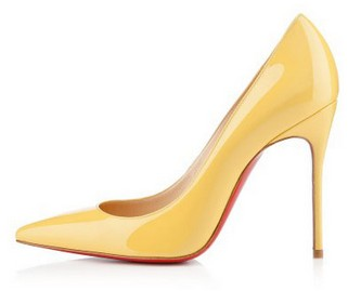 Christian Louboutin Decollete 554 100mm Patent Lea red bottom heels
