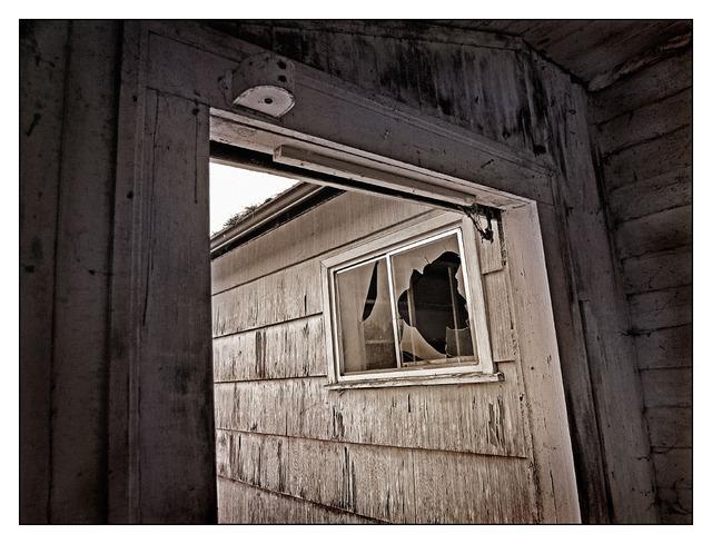 Broken Window Black & White and Sepia