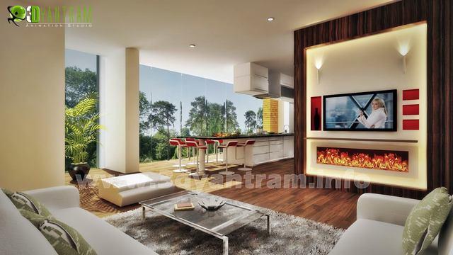 V living&kitchen 3D Interior Design