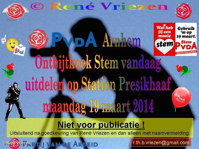 R.Th.B.Vriezen 2014 03 19 0001 PvdA Arnhem Ontbijtkoek Stem vandaag uitdelen Station Presikhaaf woensdag 19 maart 2014