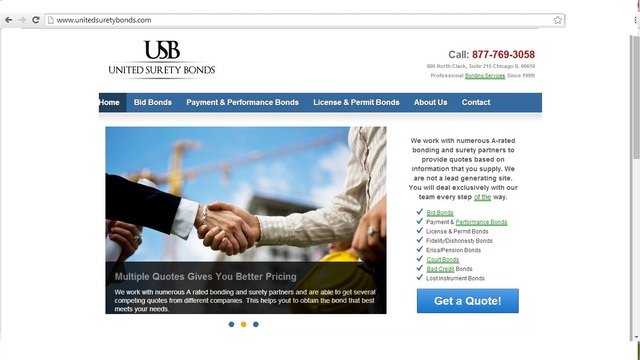Screen shot surety bonds
