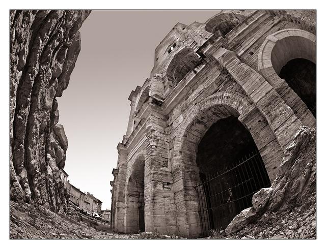 Arles Amphitheatre Sepia France