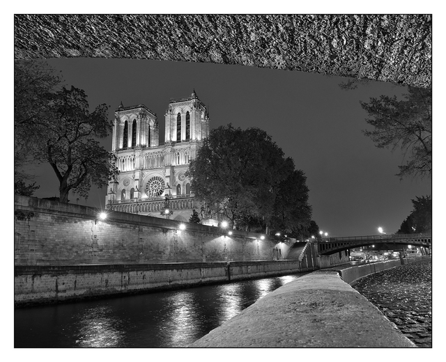 Notre Dame Night B&W France