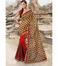 red and cream saree highlifefashion
