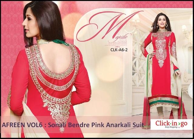 Afreen vol6 : Sonali Bendre Pink Anarkali Suit Picture Box
