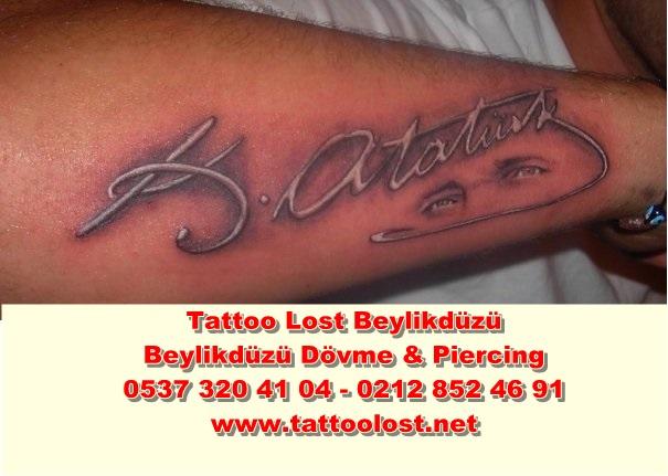 Atatürk dövme modelleri beylikdüzü dövme Tatt Mustafa Kemal imzası