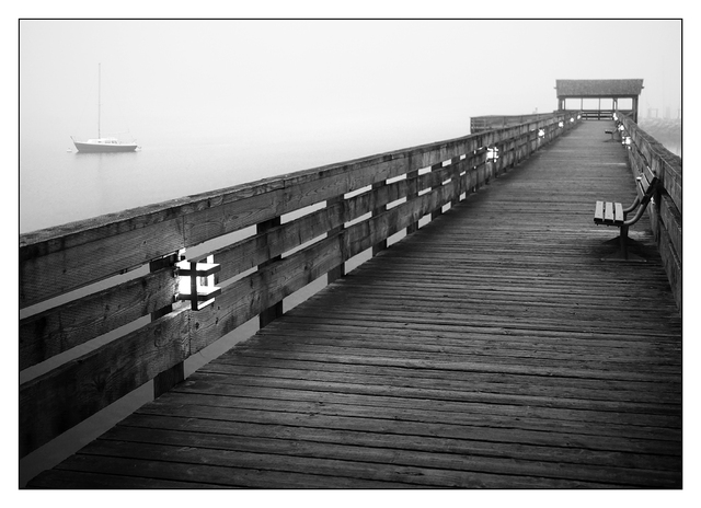Comox Docks Fog  B&W 2015 Black & White and Sepia