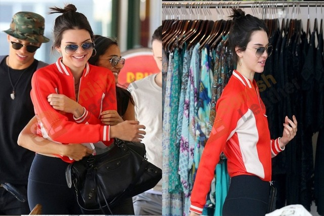 Kendall Jenner White striped red leather Jacket Samish Leather Jackets