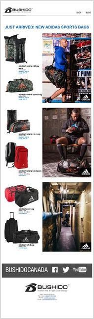Store Your Gear In Style! New Adidas Sports Bags N Bushido Martial Arts & Fight Gear Supply