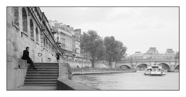 La Seine black and white France