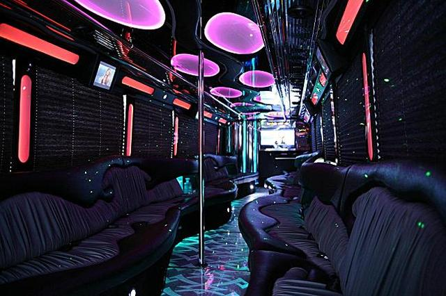 Party Bus with poles PartyBus US rental vehicles in fleet