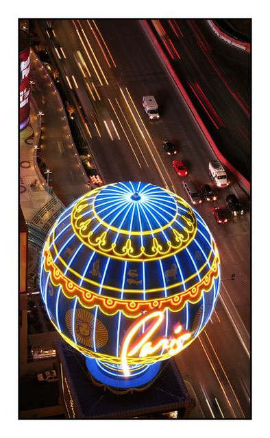 Paris Vegas below Las Vegas