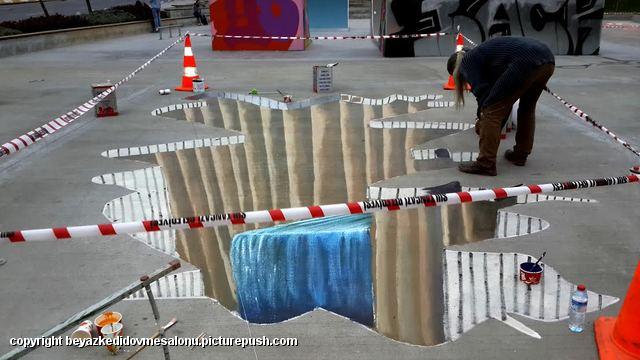 3d yer resimleri Türkiye sokak resimleri 3d cadde ressamı Türkiye