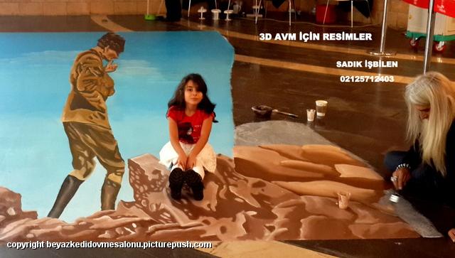 avm lere özel günler için 3d resimler Türkiye sokak resimleri 3d cadde ressamı Türkiye