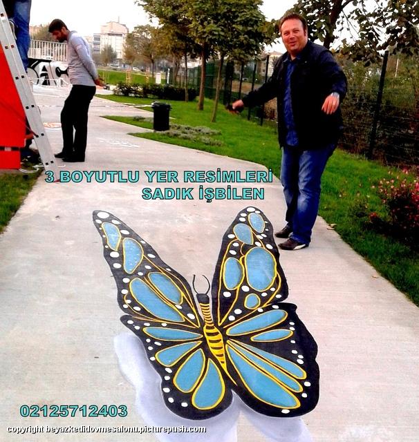 3 boyutlu yer resmi kelebek resimleri Türkiye sokak resimleri 3d cadde ressamı Türkiye
