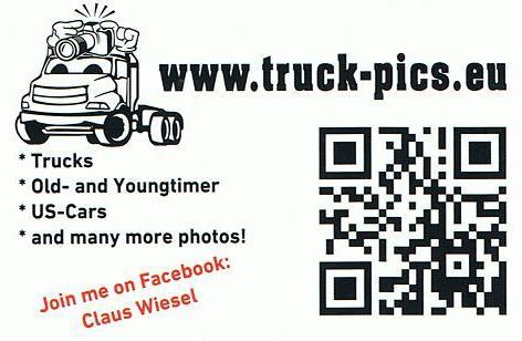Visitenkarte LKW Logo Truckrun Horst, Nederland. www.truck-pics.eu