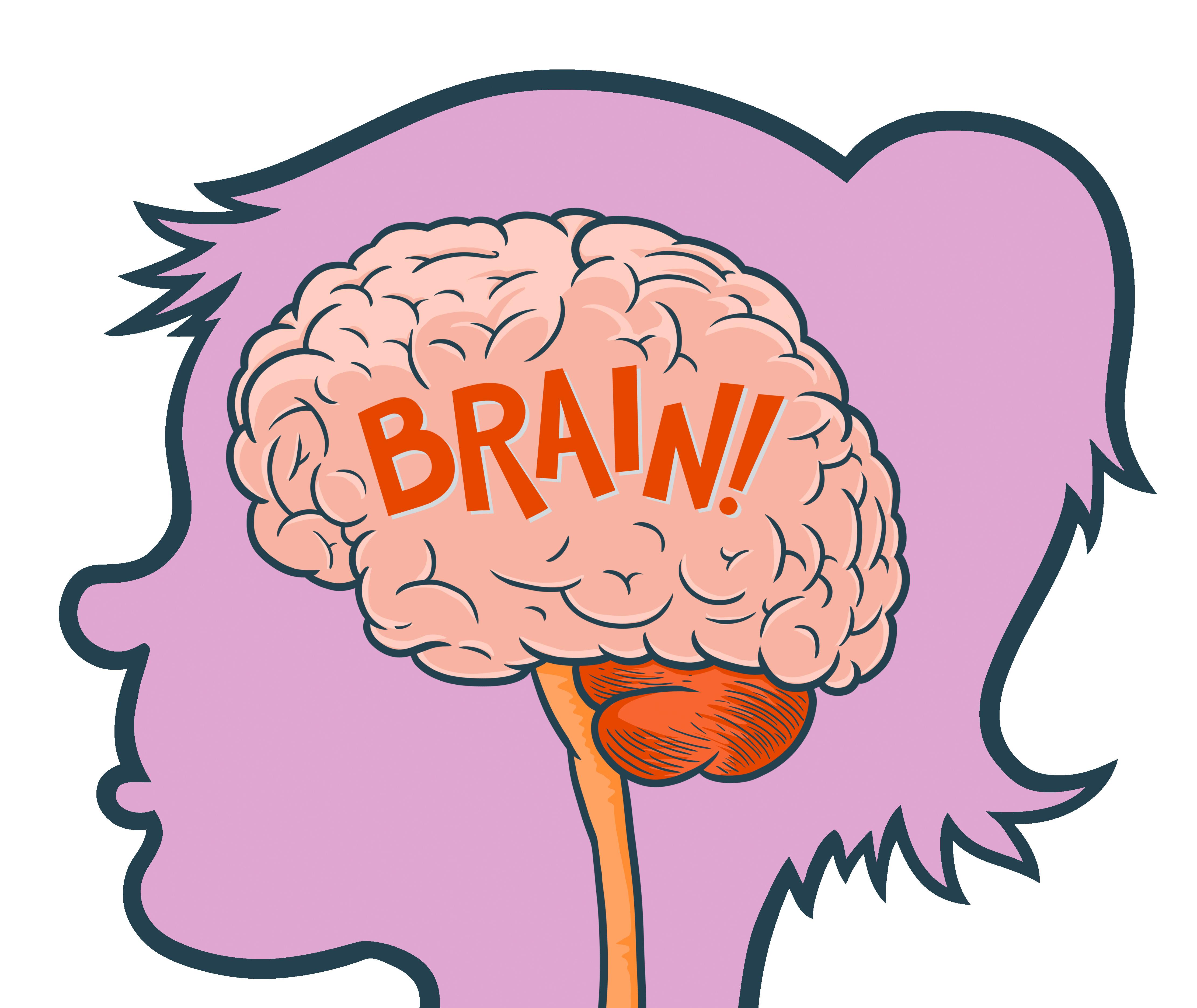 Прикольный рисунок мозга, ужастиков надписями где