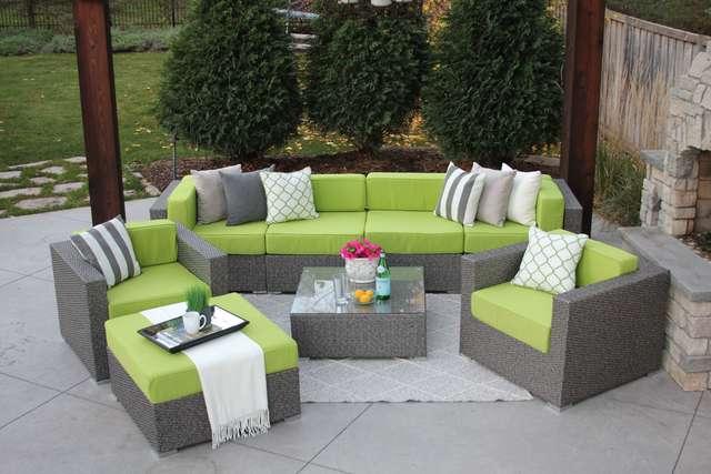 lincoln : hiawatha 8pc grey wicker palm green Meldecco - Google Shopping