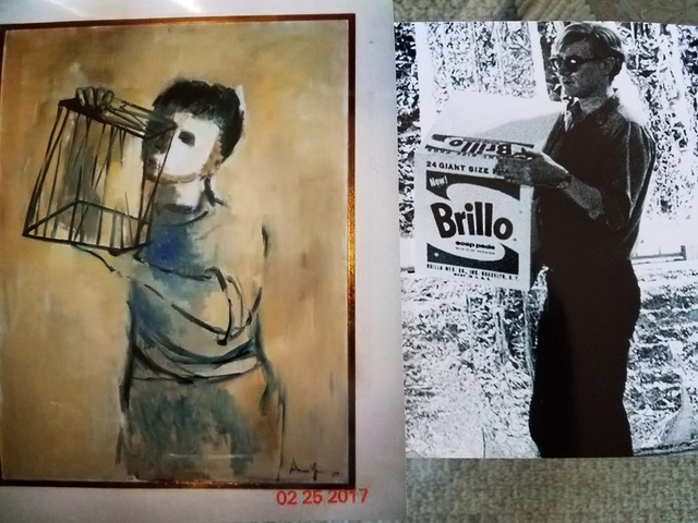 """Brillo Andy-Warhol ( Gold Thinker) Early 1960's Andy Warhol Painting- """"A Gold Marilyn 'Comparable' Background.  """"EVIDENCE RESEARCH WEBSITE"""" Viewing Only"""