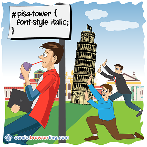 Tower of Pisa - Web Joke CSS Puns and CSS Jokes