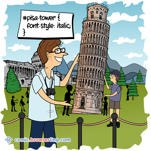 Pisa Tower CSS - Web Joke CSS Puns and CSS Jokes