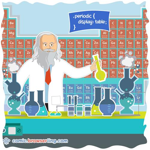 Mendeleev - Web Joke CSS Puns and CSS Jokes