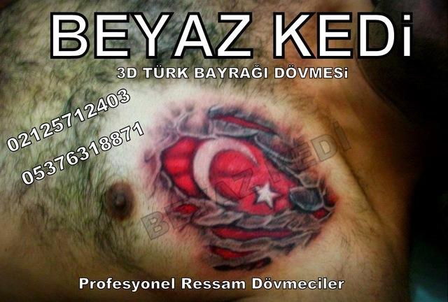 3d Türk bayrağı dövmesi Bakırköy Dövmeci