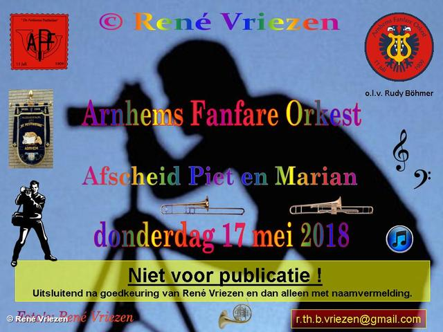 R.Th.B.Vriezen 20180517 000 Arnhems Fanfare Orkest Afscheid Piet en Marian Ventiel- SchuifTronbone donderdag 17 mei 2018