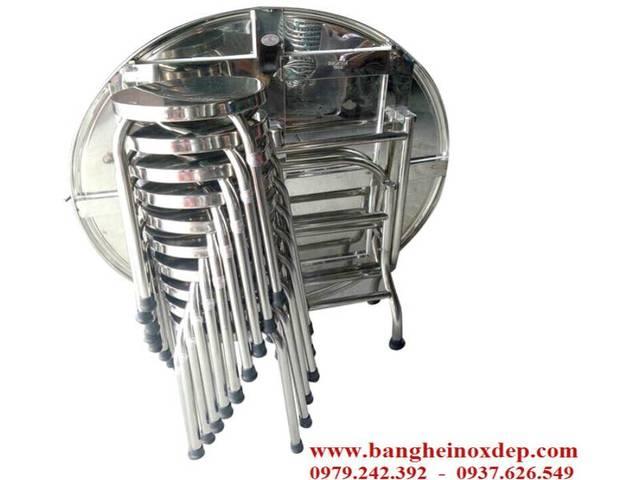 Bộ bàn ăn inox cao cấp SUS 304 Ban ghe Inox