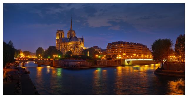 -Ile de la Cite Night Panorama France Panoramas