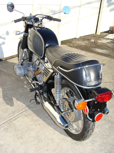 DSC02546 2999030 - 1973 BMW R75/5 LWB. BLACK. Large tank, Very clean & original, Matching Numbers. Hannigan Touring Fairing. New tires & much more!