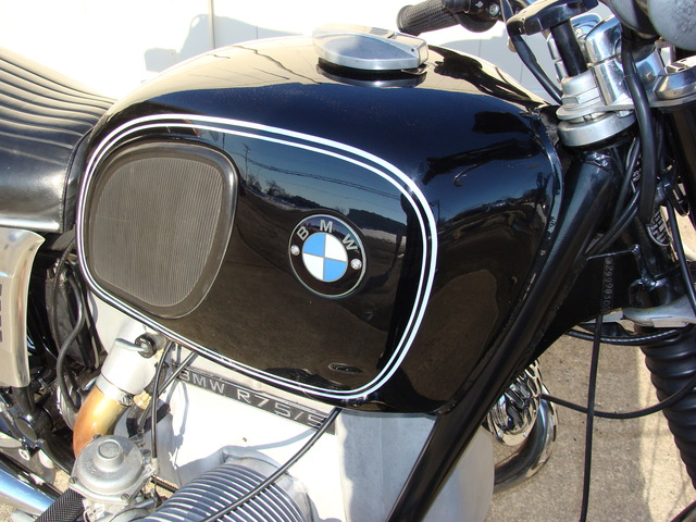 DSC02556 2999030 - 1973 BMW R75/5 LWB. BLACK. Large tank, Very clean & original, Matching Numbers. Hannigan Touring Fairing. New tires & much more!