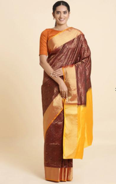 Mahogany Red South Silk Saree-Taneira Designer Saree Collection