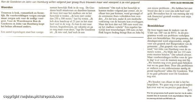 RVU - Woerdense Courant 10-11-05 2 tekst Huwelijk 2006 - De krant en de TV