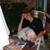 Wouter met Lizzy en Whitney - In de tuin 2002