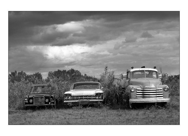 Sasketechwan old cars Black & White and Sepia