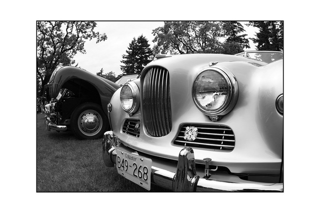 fishy british car Black & White and Sepia
