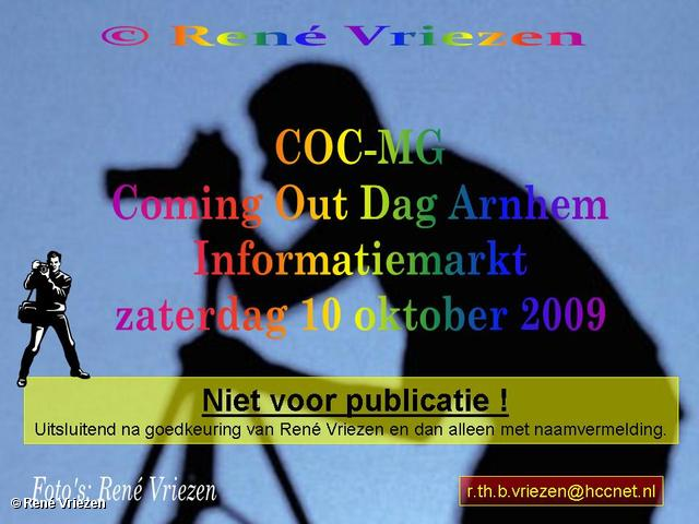 René Vriezen 2009-10-10 #0000 COC-MG Coming Out Dag Arnhem Informatiemarkt zaterdag 10 oktober 2009