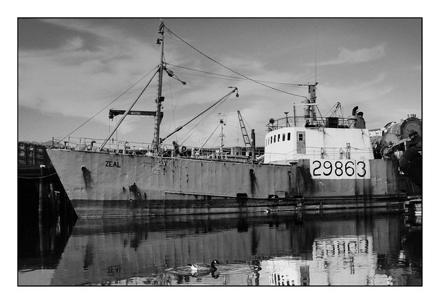 Vancouver fish boat Black & White and Sepia