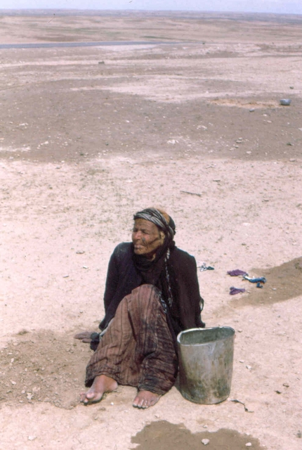 Iraq, woman in the dessert Afghanstan 1971, on the road