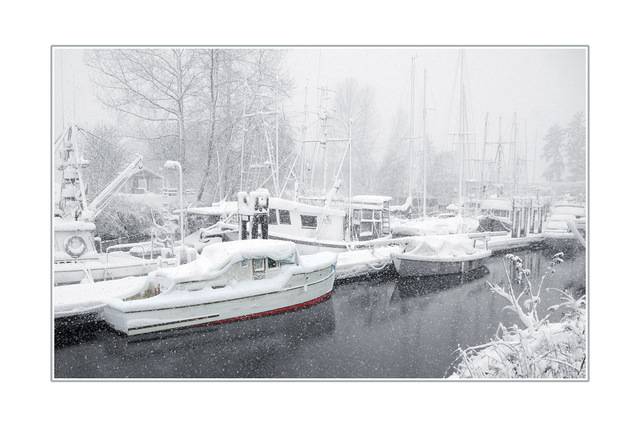 snow and boats Comox Valley