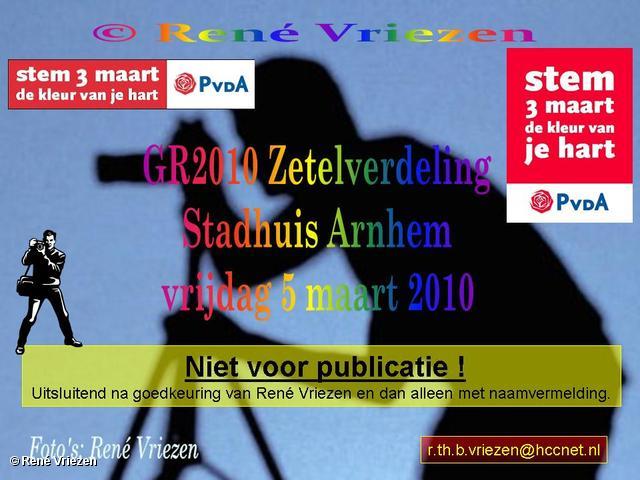 René Vriezen 2010-03-03 #0000 Zetelverdeling Raad Arnhem GR2010 Stadhuis vrijdag 5 maart 2010
