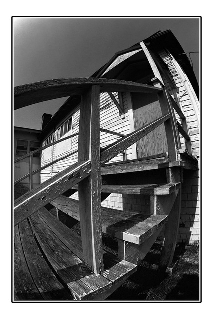 fisheye stair Black & White and Sepia