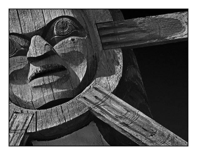 Totem close up Black & White and Sepia