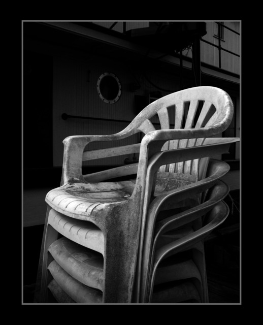 stacked chairs Black & White and Sepia