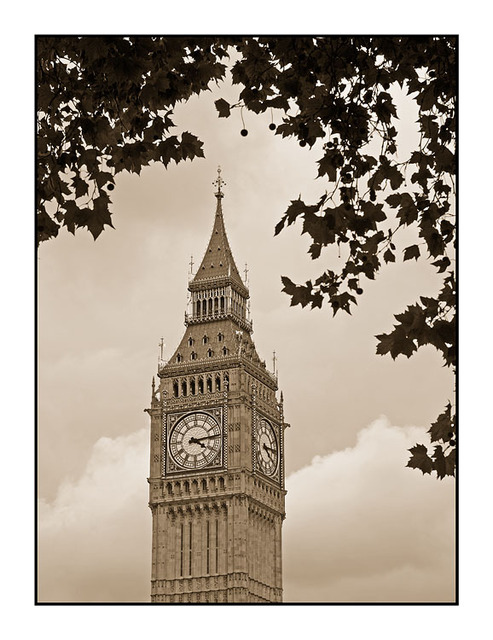 Big Ben Sepia England and Wales